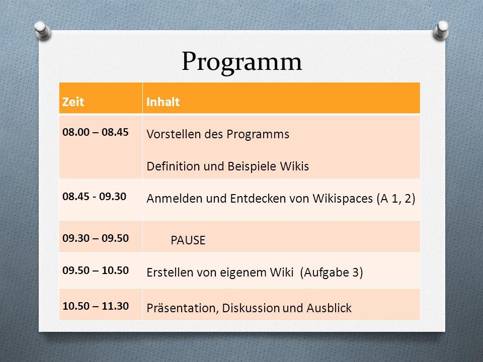 Programm Zeit Inhalt Vorstellen des Programms