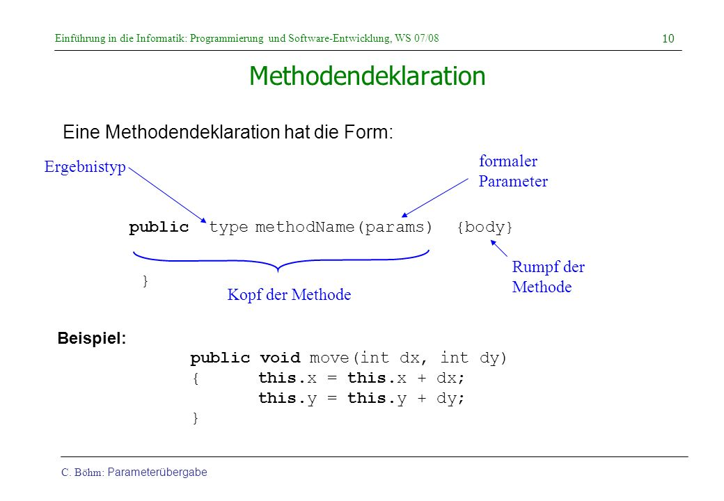Methodendeklaration Eine Methodendeklaration hat die Form: formaler