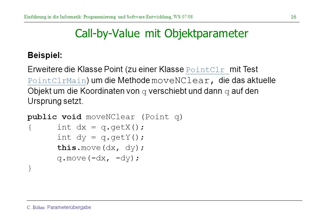 Call-by-Value mit Objektparameter