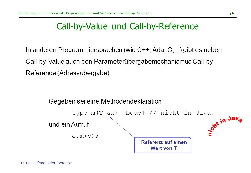 Call-by-Value und Call-by-Reference
