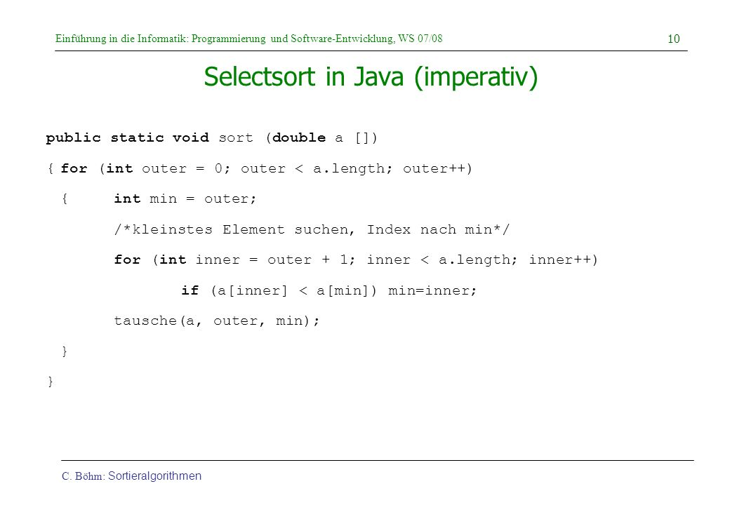 Selectsort in Java (imperativ)