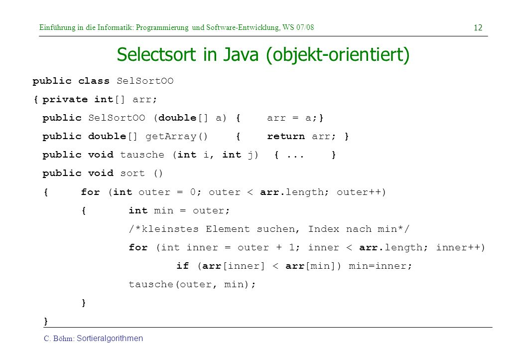 Selectsort in Java (objekt-orientiert)