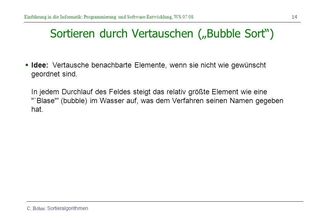 """Sortieren durch Vertauschen (""""Bubble Sort )"""
