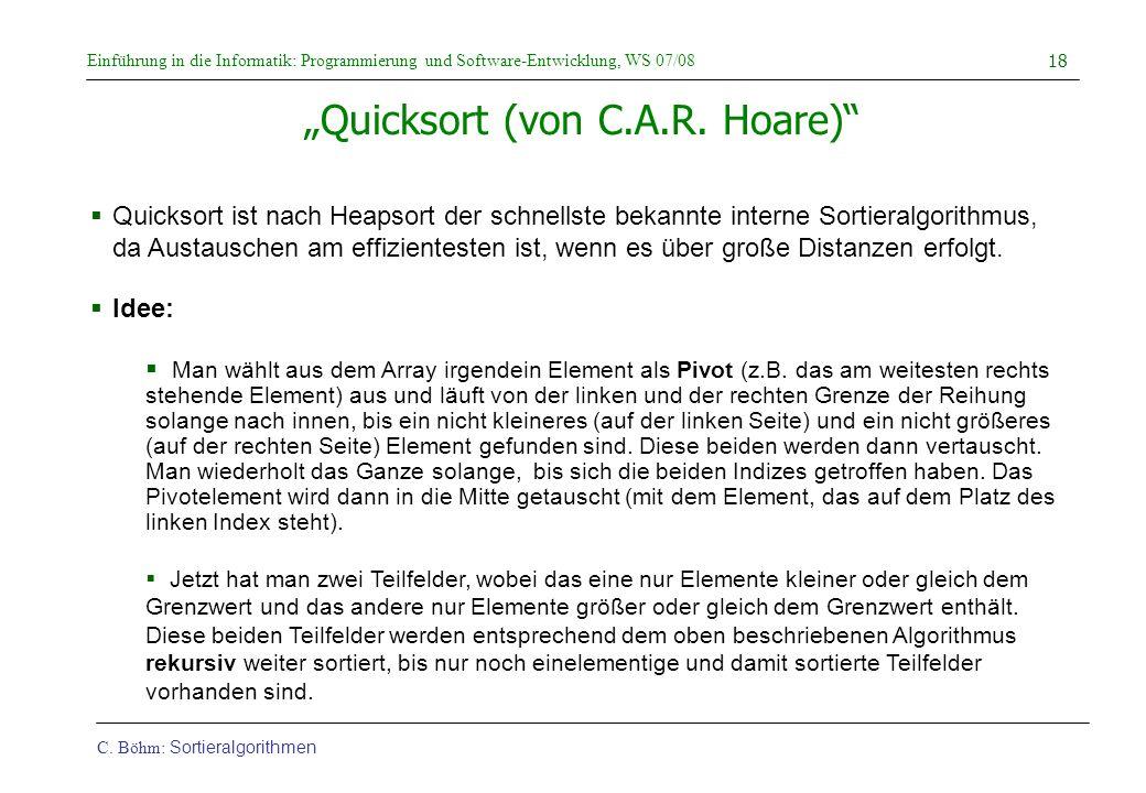 """""""Quicksort (von C.A.R. Hoare)"""