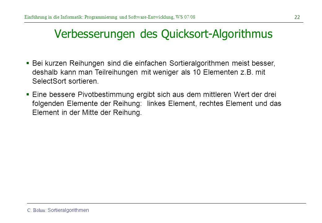 Verbesserungen des Quicksort-Algorithmus