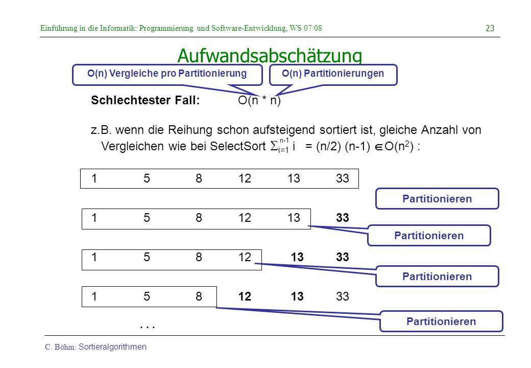 O(n) Vergleiche pro Partitionierung O(n) Partitionierungen