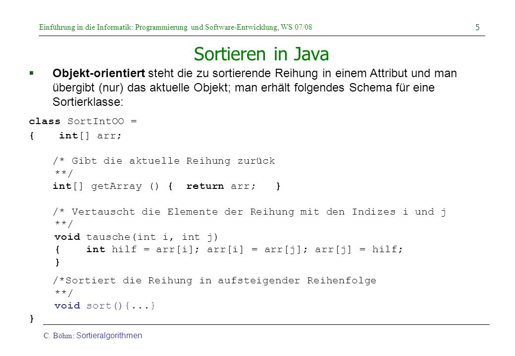 Sortieren in Java