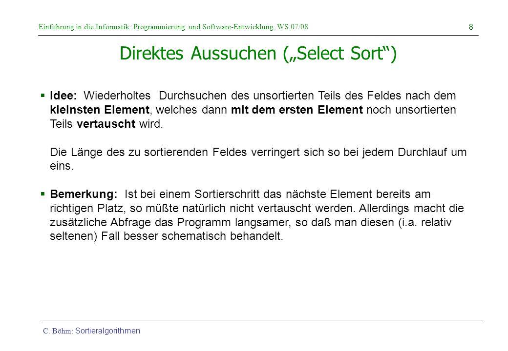 """Direktes Aussuchen (""""Select Sort )"""