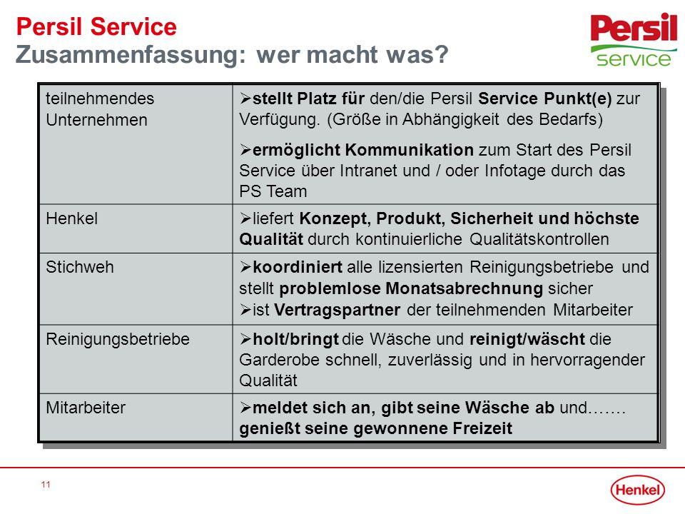 Persil Service Zusammenfassung: wer macht was