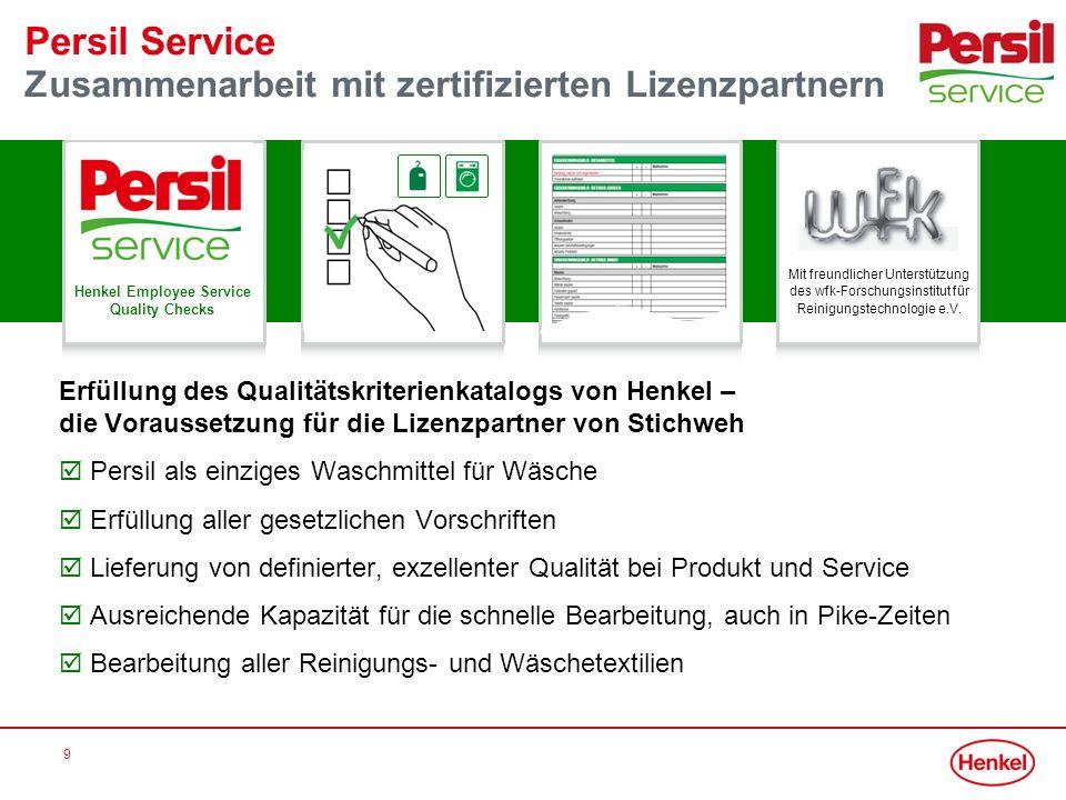 Persil Service Zusammenarbeit mit zertifizierten Lizenzpartnern