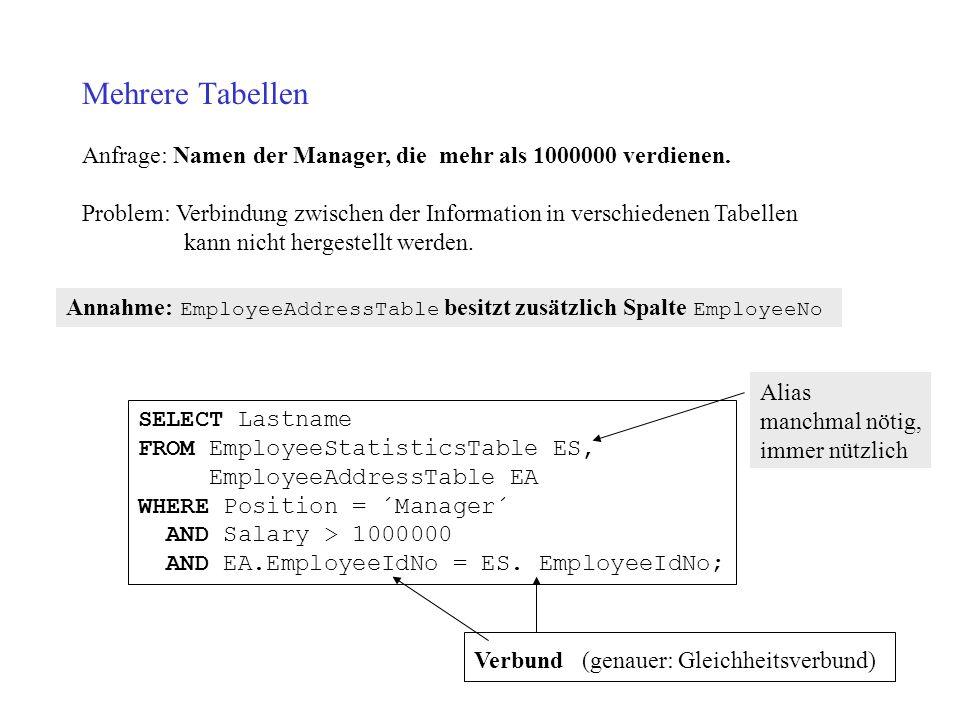 Mehrere Tabellen Anfrage: Namen der Manager, die mehr als 1000000 verdienen.