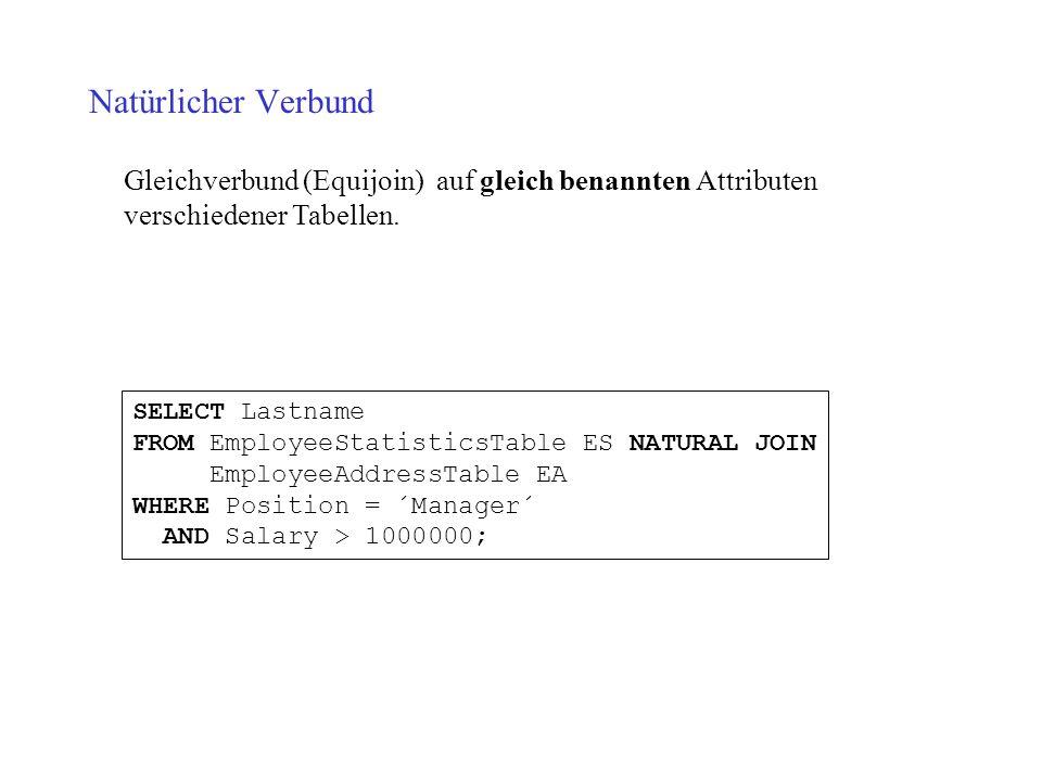 Natürlicher Verbund Gleichverbund (Equijoin) auf gleich benannten Attributen verschiedener Tabellen.