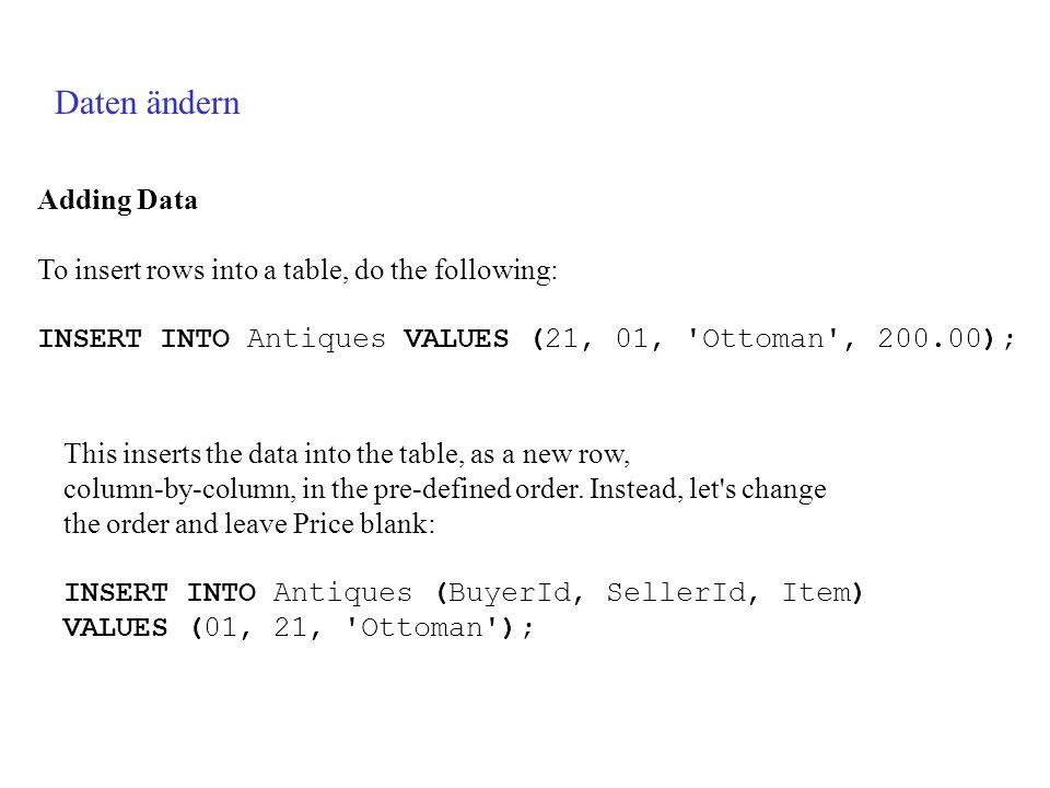 Daten ändern Adding Data