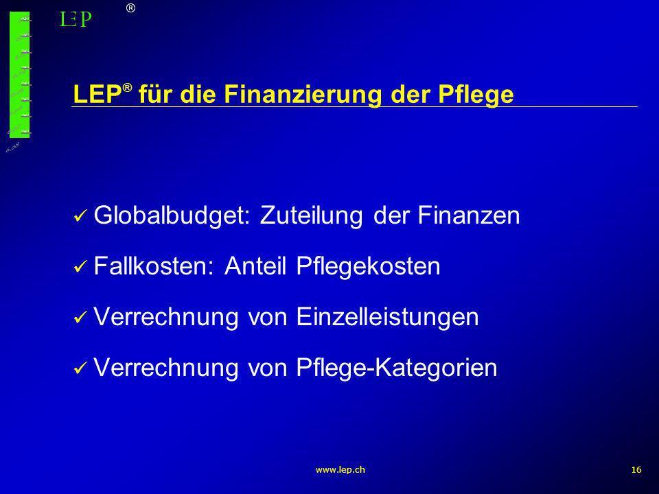LEP® für die Finanzierung der Pflege