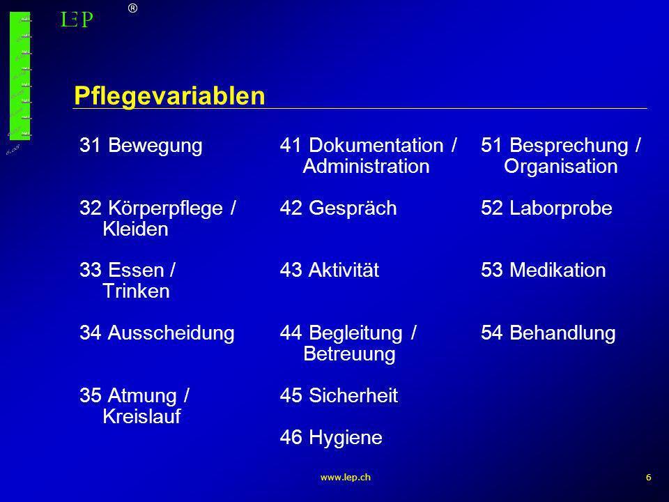 Pflegevariablen 31 Bewegung 41 Dokumentation / 51 Besprechung /