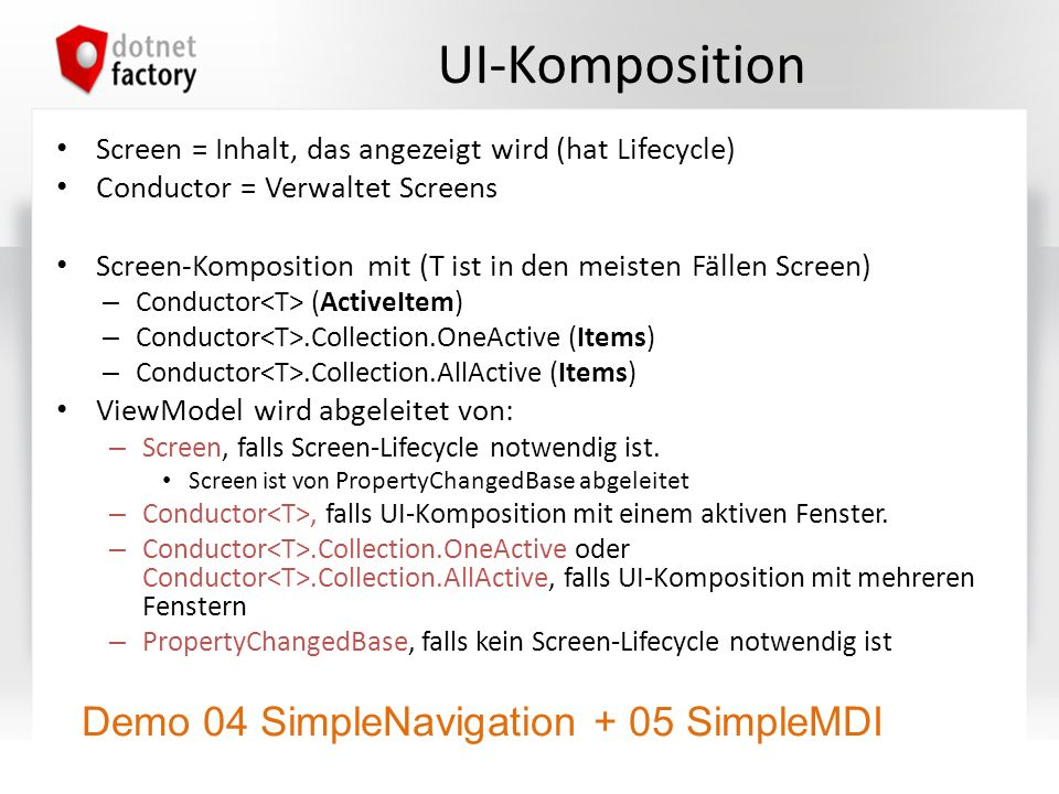UI-Komposition Demo 04 SimpleNavigation + 05 SimpleMDI