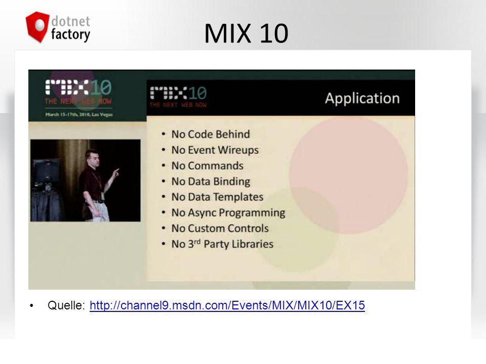 MIX 10 Quelle: http://channel9.msdn.com/Events/MIX/MIX10/EX15