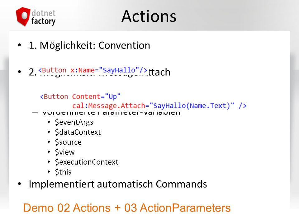 Actions Demo 02 Actions + 03 ActionParameters