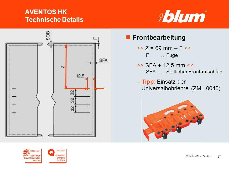 AVENTOS HK Technische Details