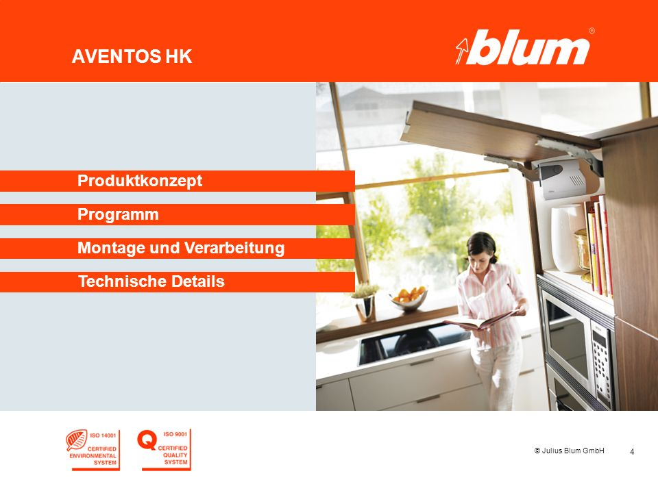 AVENTOS HK Produktkonzept Programm Montage und Verarbeitung