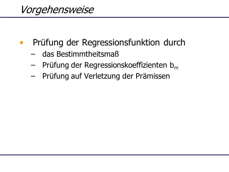 Vorgehensweise Prüfung der Regressionsfunktion durch
