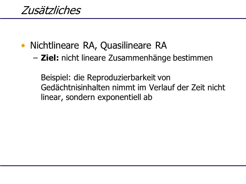 Zusätzliches Nichtlineare RA, Quasilineare RA