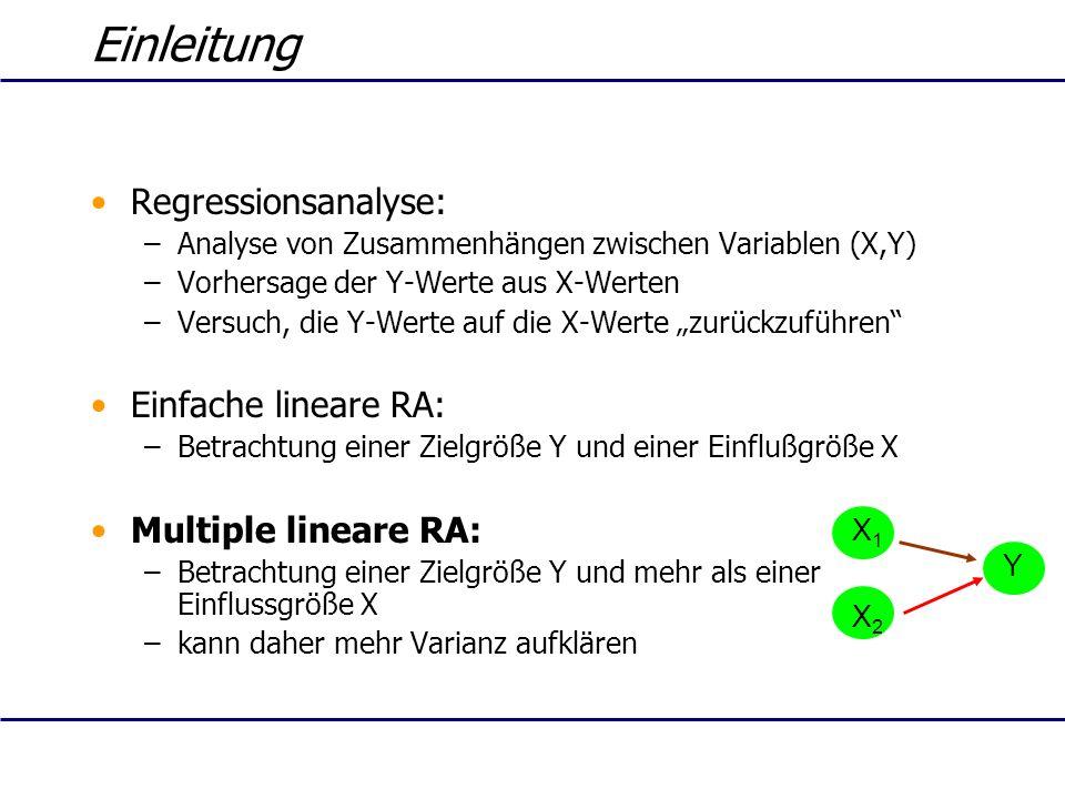 Einleitung Regressionsanalyse: Einfache lineare RA:
