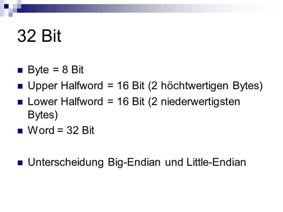 32 Bit Byte = 8 Bit Upper Halfword = 16 Bit (2 höchtwertigen Bytes)