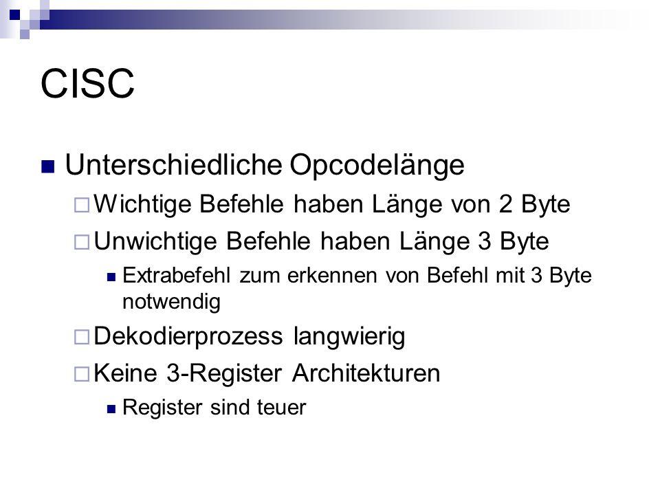CISC Unterschiedliche Opcodelänge