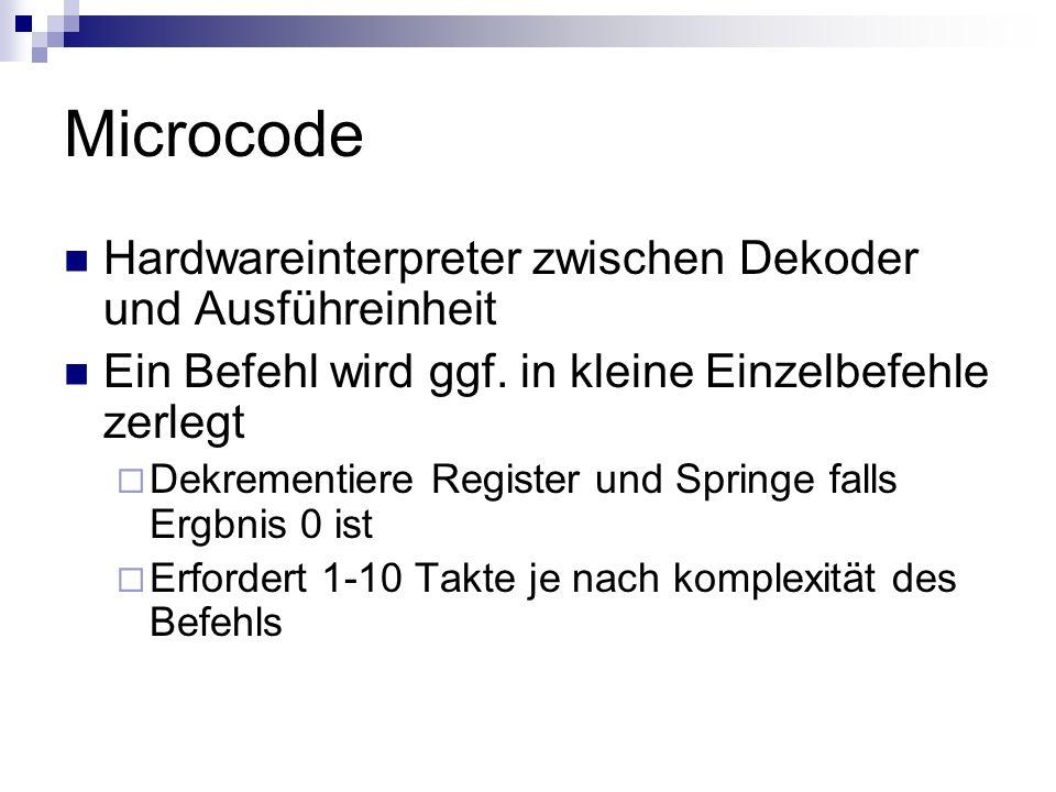 Microcode Hardwareinterpreter zwischen Dekoder und Ausführeinheit