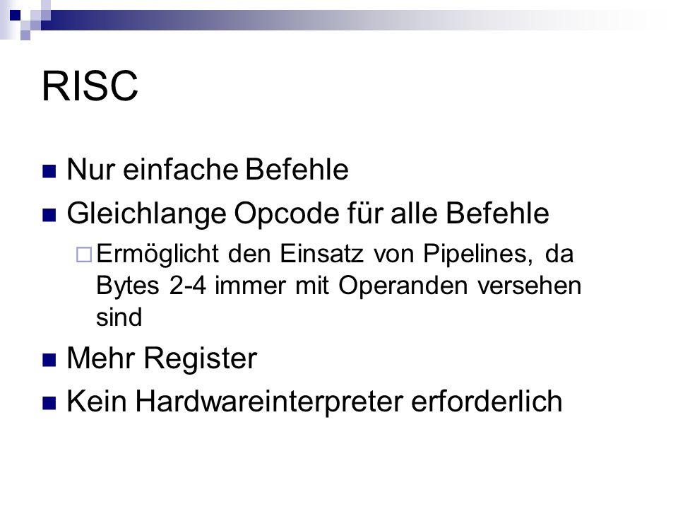 RISC Nur einfache Befehle Gleichlange Opcode für alle Befehle