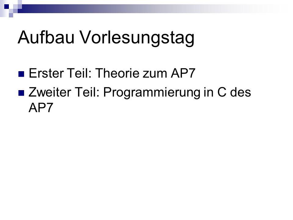 Aufbau Vorlesungstag Erster Teil: Theorie zum AP7