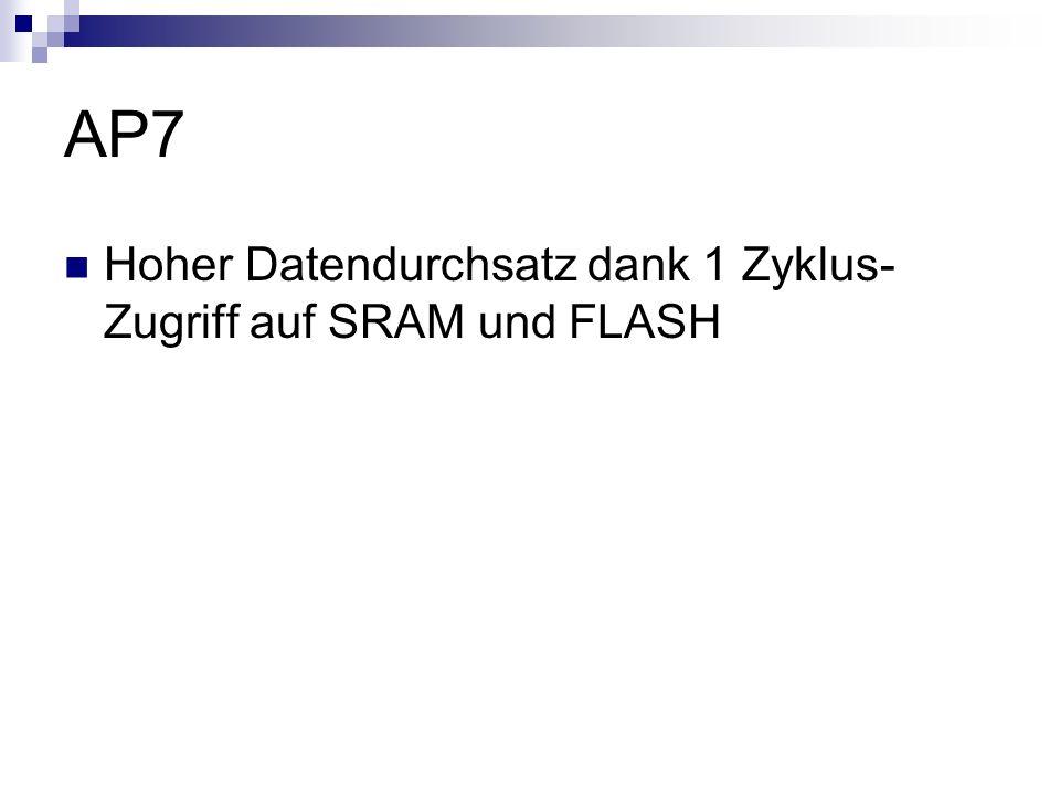 AP7 Hoher Datendurchsatz dank 1 Zyklus-Zugriff auf SRAM und FLASH
