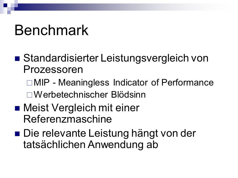 Benchmark Standardisierter Leistungsvergleich von Prozessoren