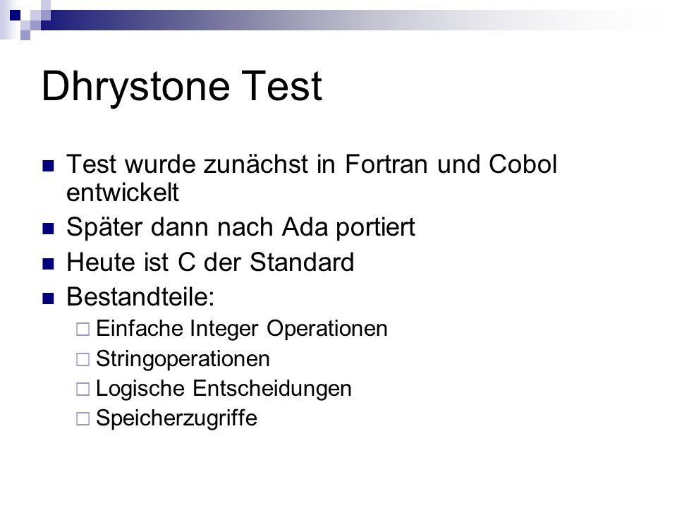 Dhrystone Test Test wurde zunächst in Fortran und Cobol entwickelt