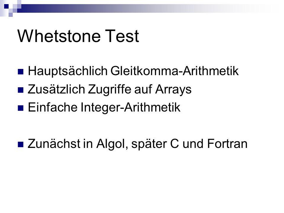 Whetstone Test Hauptsächlich Gleitkomma-Arithmetik