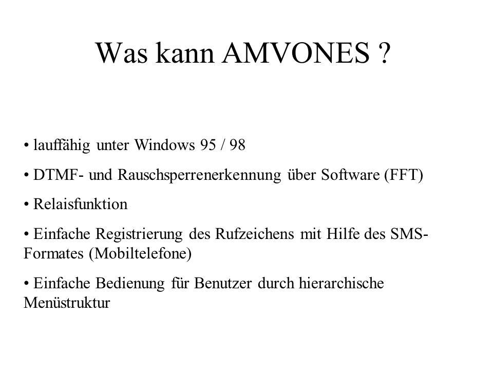 Was kann AMVONES lauffähig unter Windows 95 / 98