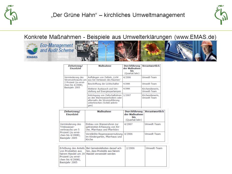 Konkrete Maßnahmen - Beispiele aus Umwelterklärungen (www.EMAS.de)