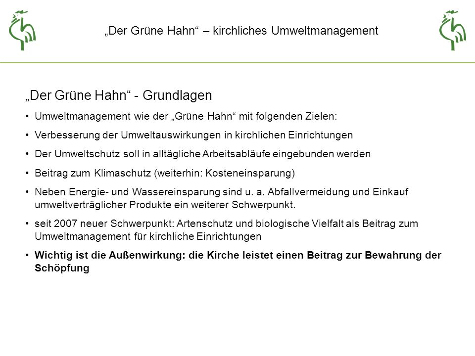 """""""Der Grüne Hahn - Grundlagen"""