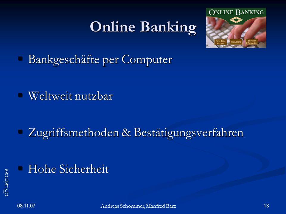 Online Banking Bankgeschäfte per Computer Weltweit nutzbar