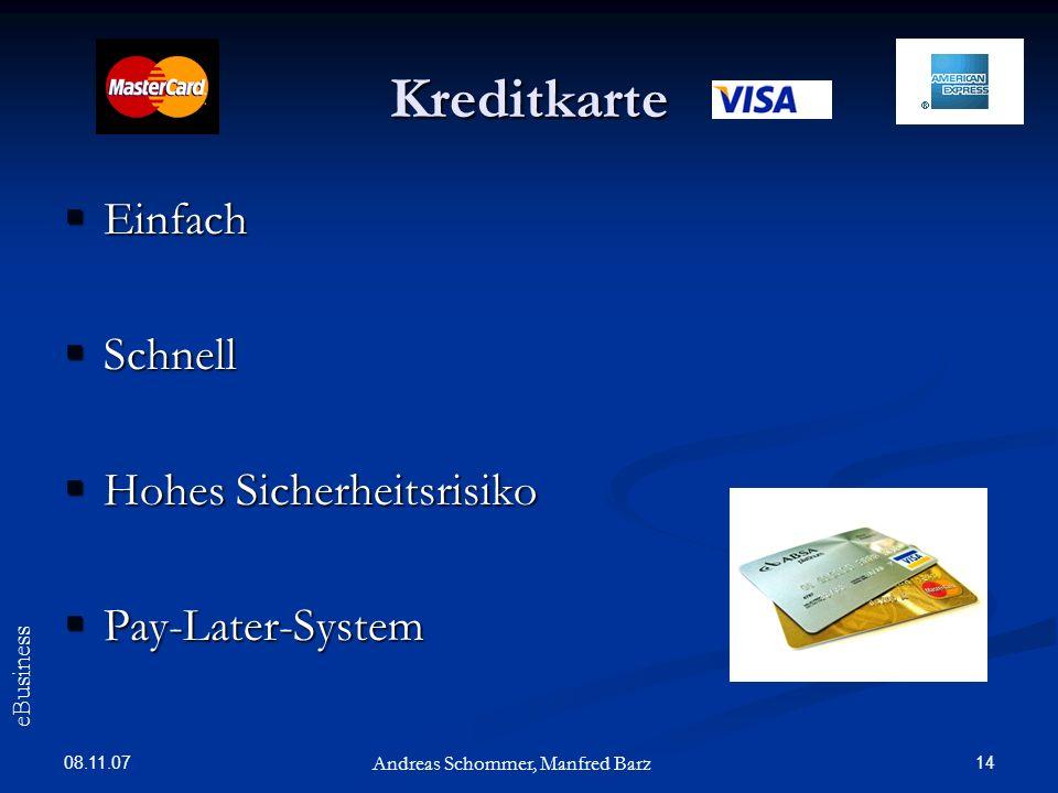 Kreditkarte Einfach Schnell Hohes Sicherheitsrisiko Pay-Later-System