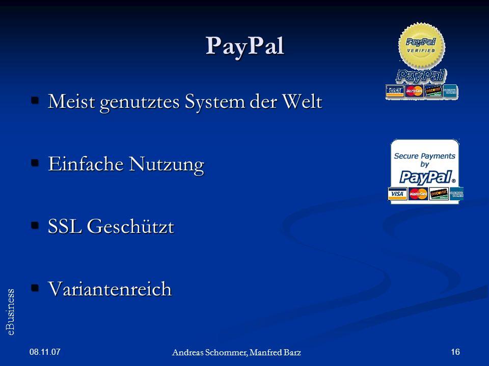PayPal Meist genutztes System der Welt Einfache Nutzung SSL Geschützt
