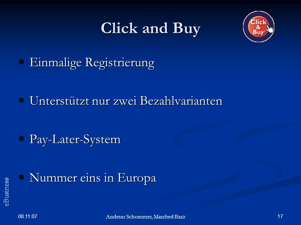 Click and Buy Einmalige Registrierung