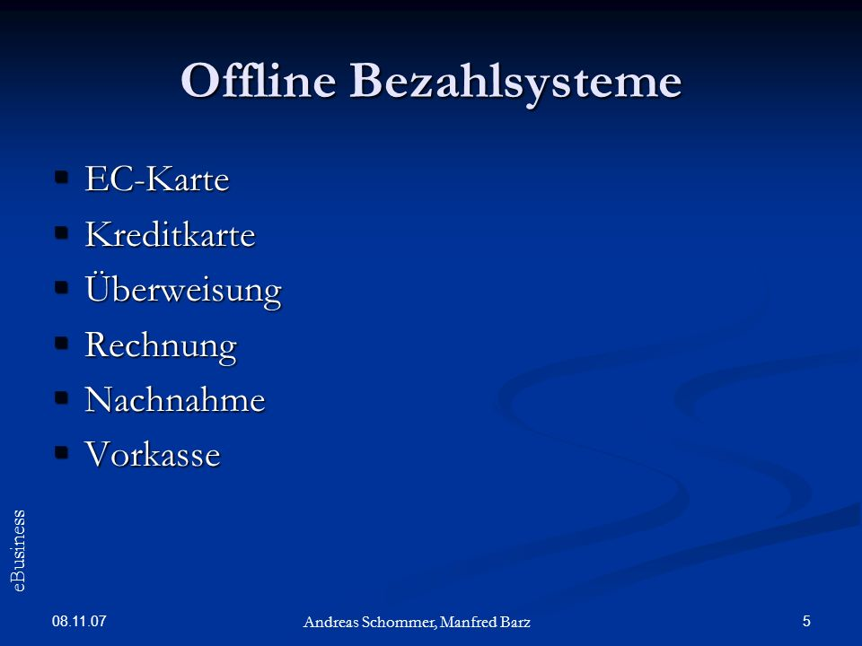 Offline Bezahlsysteme