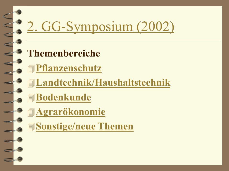 2. GG-Symposium (2002) Themenbereiche Pflanzenschutz