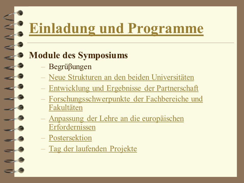 Einladung und Programme