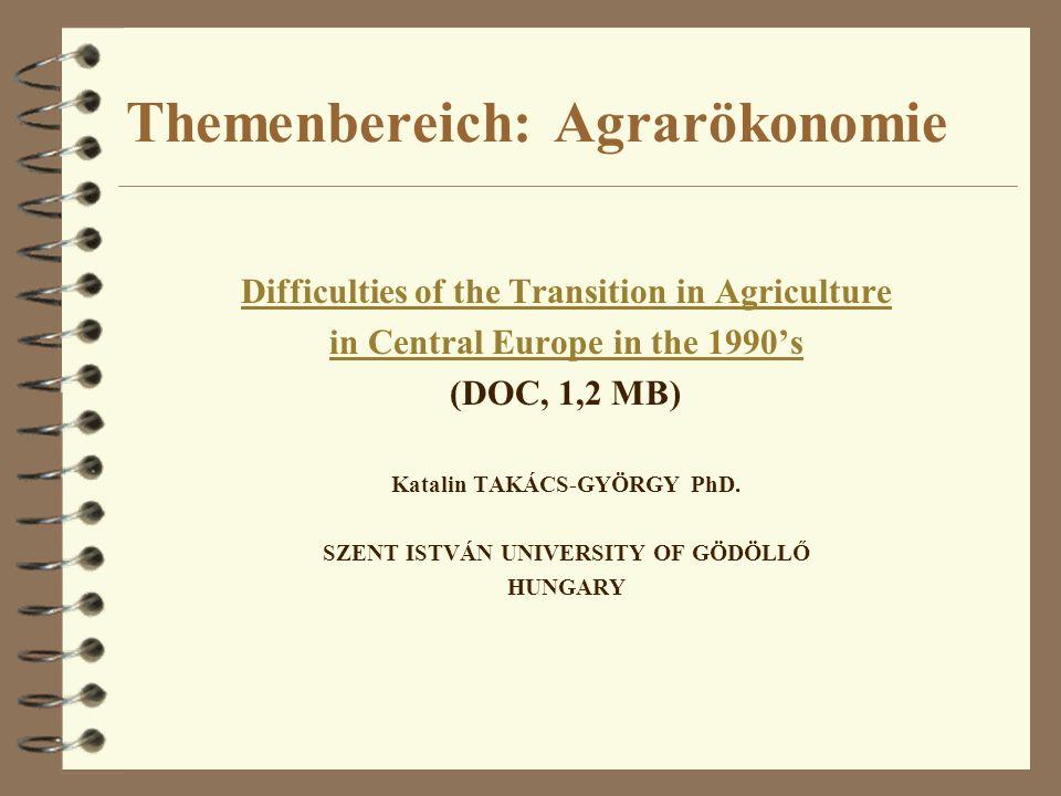 Themenbereich: Agrarökonomie