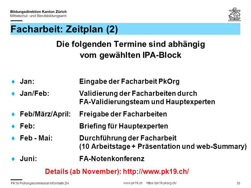 Facharbeit: Zeitplan (2)
