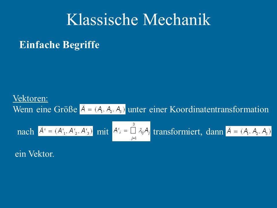Klassische Mechanik Einfache Begriffe Vektoren: