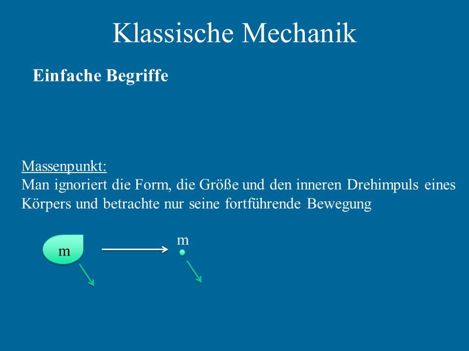 Klassische Mechanik Einfache Begriffe Massenpunkt: